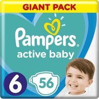 Plienky Active Baby 6 EXTRA LARGE 16kg+ 56ks Pampers