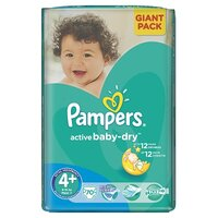 Plienky Pampers Active Baby-dry  Giantpack Maxi+ 70 ks 9-16kg