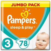 Plienky Sleep&Play Jumbo Pack 3 MIDI 6-10kg 78ks Pampers