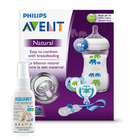 Avent sada Natural 260ml PP slon zelená+Aquaint