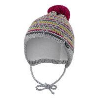 e7606111e Čiapka pletená zaväzovacia čiarky Outlast ® veľ.5,49-53cm šedoružovožlutá  little angel