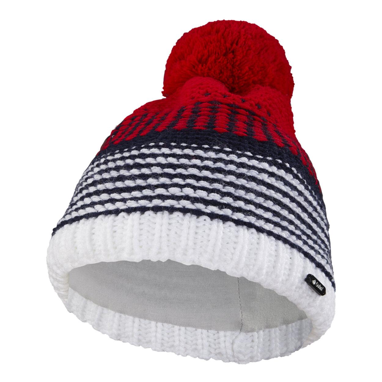 4e45ee8e1 Čiapka pletená pruhovaná Outlast ® veľ.5,49-53cm bielomodročervená little  angel