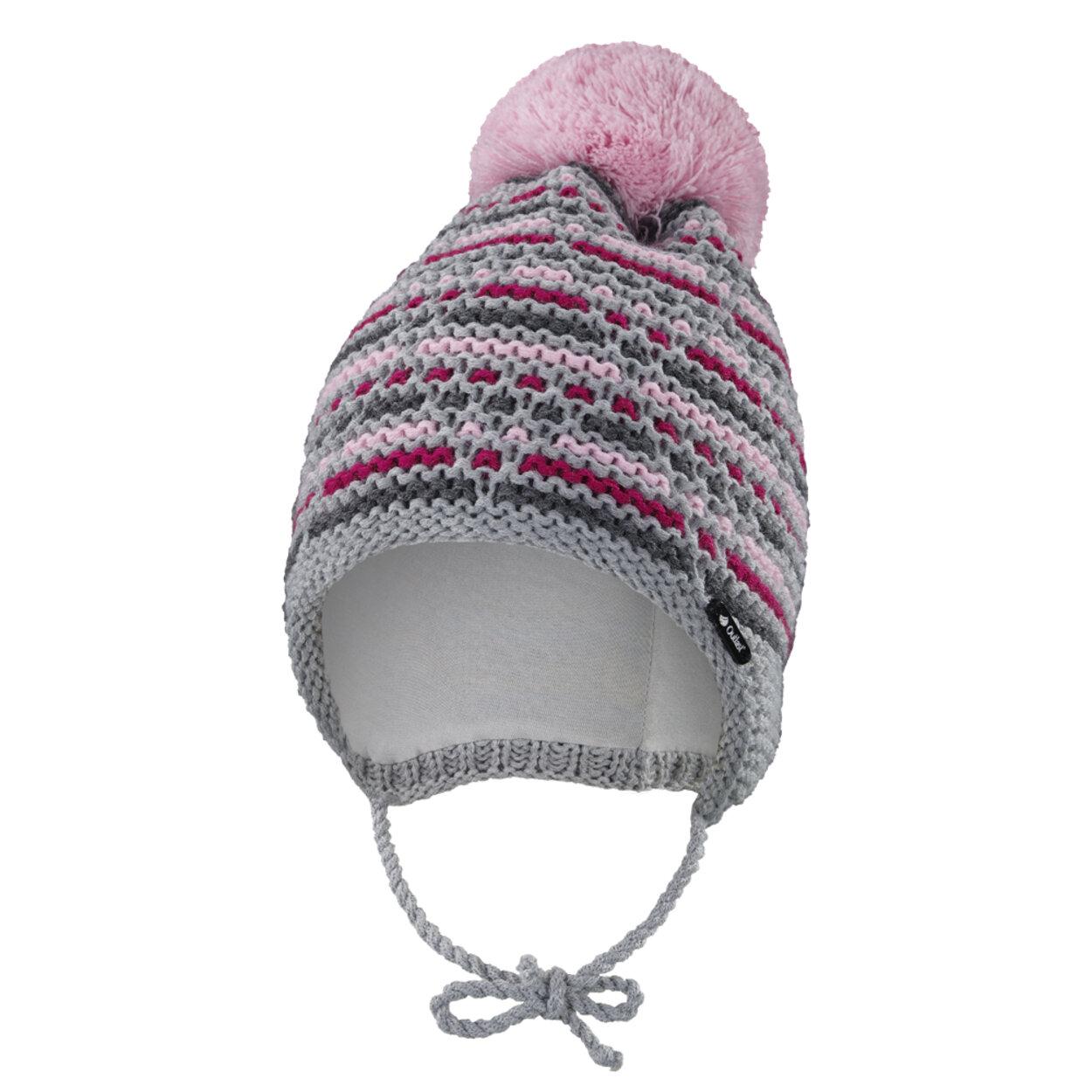 ab2d6797c Čiapka pletená zaväzovacia čiarky Outlast ® veľ.4,45-48cm šedoružové little  angel
