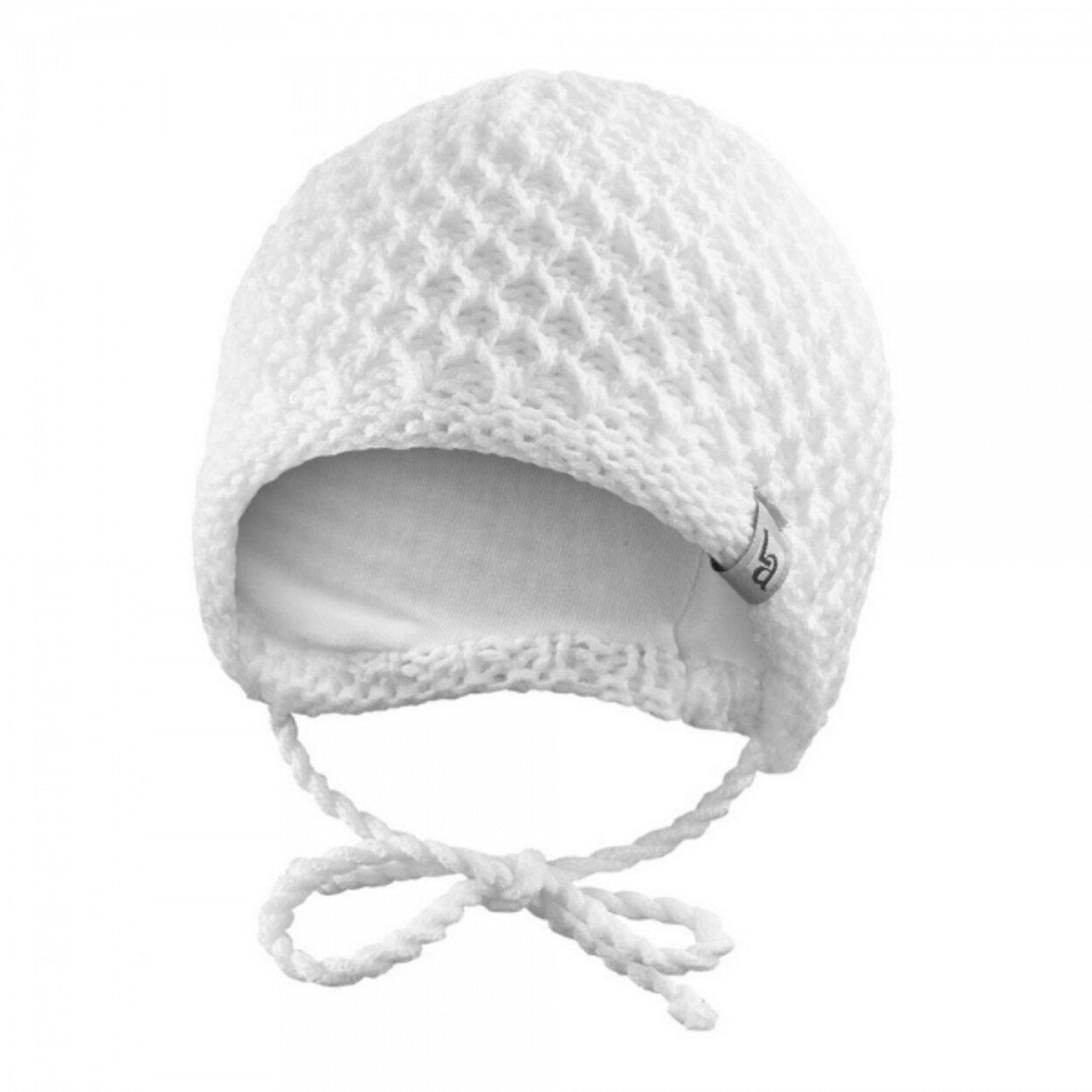 60dc0af54 Čiapka pletená zaväzovacia drobný vzor Outlast® veľ.3,42-44cm biela little  angel