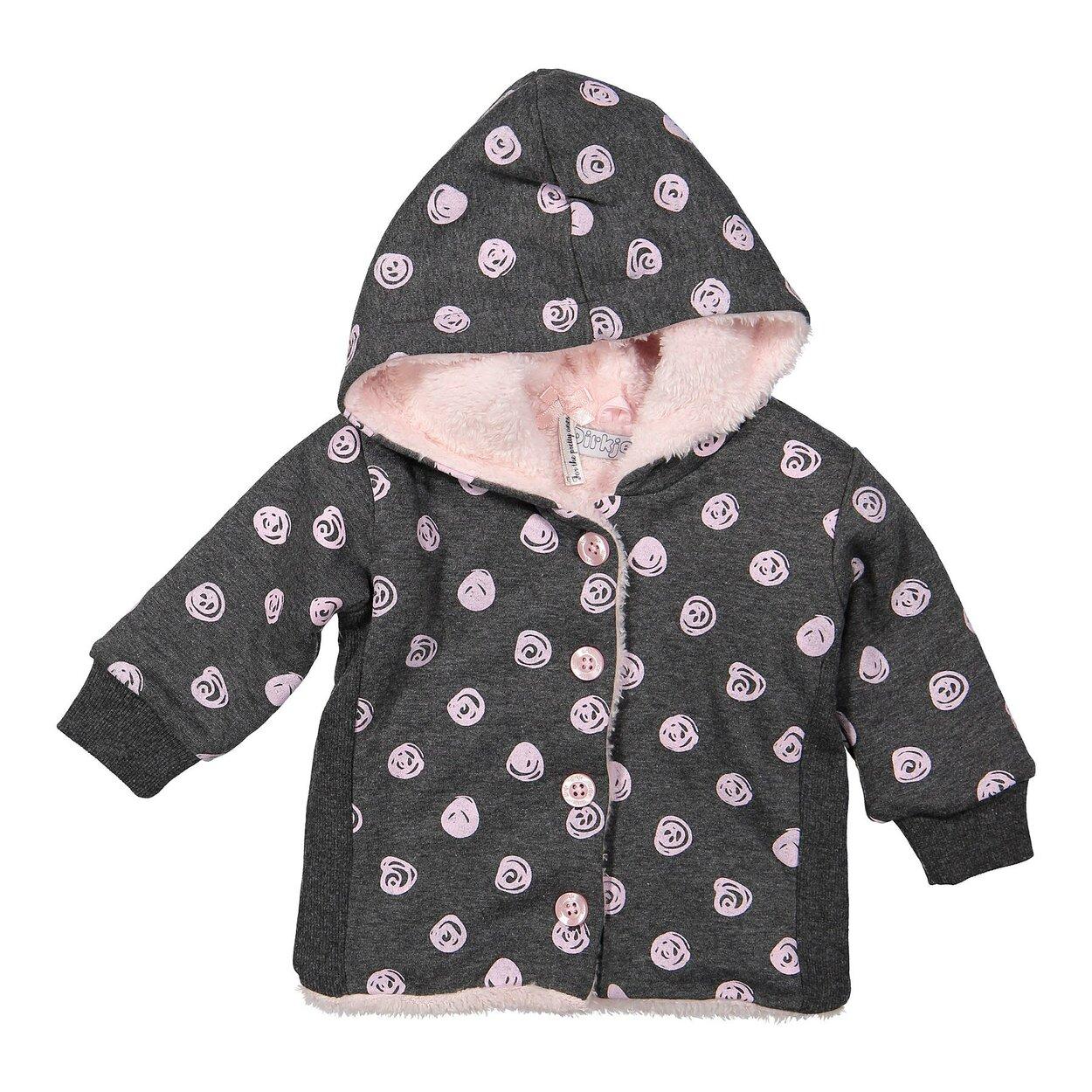 91218515faf6 Mikina s kožušinkou Z-SO SOFT HUNNY BUNNY Dark grey melee + Light pink dots  92